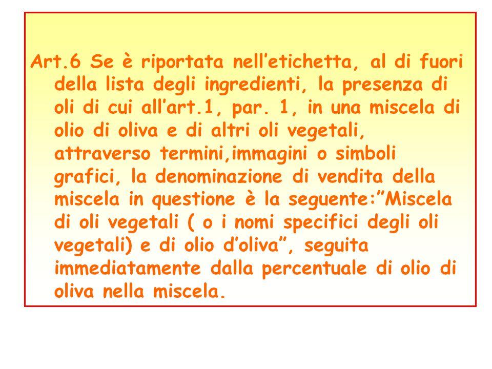 Art.6 Se è riportata nelletichetta, al di fuori della lista degli ingredienti, la presenza di oli di cui allart.1, par. 1, in una miscela di olio di o