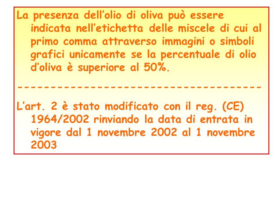 La presenza dellolio di oliva può essere indicata nelletichetta delle miscele di cui al primo comma attraverso immagini o simboli grafici unicamente s