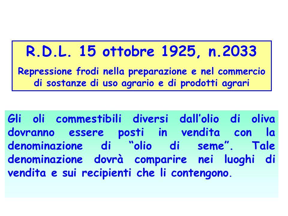 R.D.L. 15 ottobre 1925, n.2033 Repressione frodi nella preparazione e nel commercio di sostanze di uso agrario e di prodotti agrari Gli oli commestibi