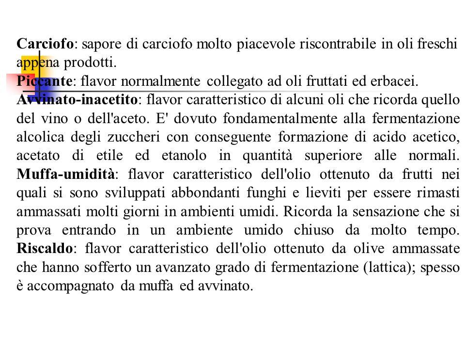 Carciofo: sapore di carciofo molto piacevole riscontrabile in oli freschi appena prodotti. Piccante: flavor normalmente collegato ad oli fruttati ed e