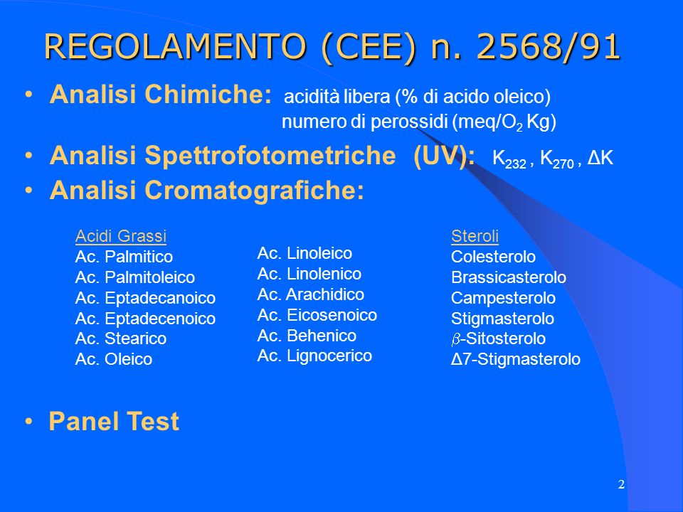 2 REGOLAMENTO (CEE) n. 2568/91 Analisi Chimiche: acidità libera (% di acido oleico) numero di perossidi (meq/O 2 Kg) Analisi Spettrofotometriche (UV):
