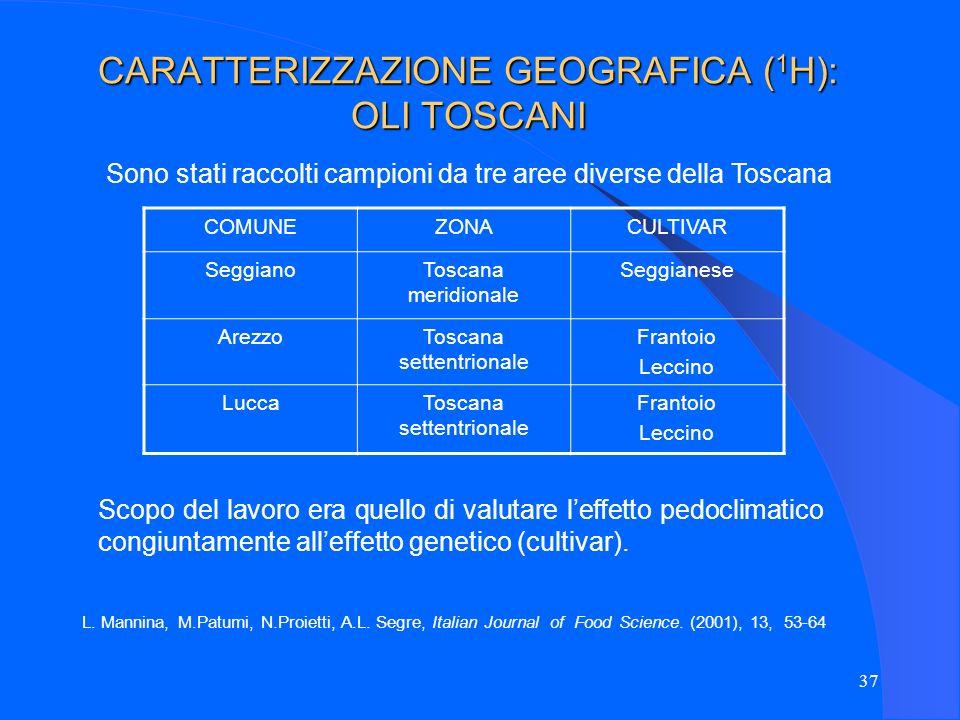 37 CARATTERIZZAZIONE GEOGRAFICA ( 1 H): OLI TOSCANI Sono stati raccolti campioni da tre aree diverse della Toscana COMUNEZONACULTIVAR SeggianoToscana
