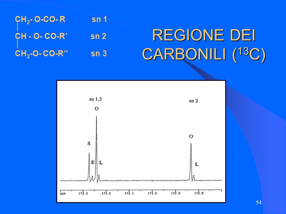 54 REGIONE DEI CARBONILI ( 13 C) CH 2 - O-CO- R sn 1 CH - O- CO-R sn 2 CH 2 -O- CO-R sn 3