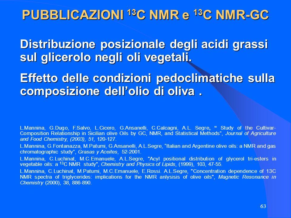 63 Distribuzione posizionale degli acidi grassi sul glicerolo negli oli vegetali. L.Mannina, G.Dugo, F.Salvo, L.Cicero, G.Ansanelli, C.Calcagni, A.L.