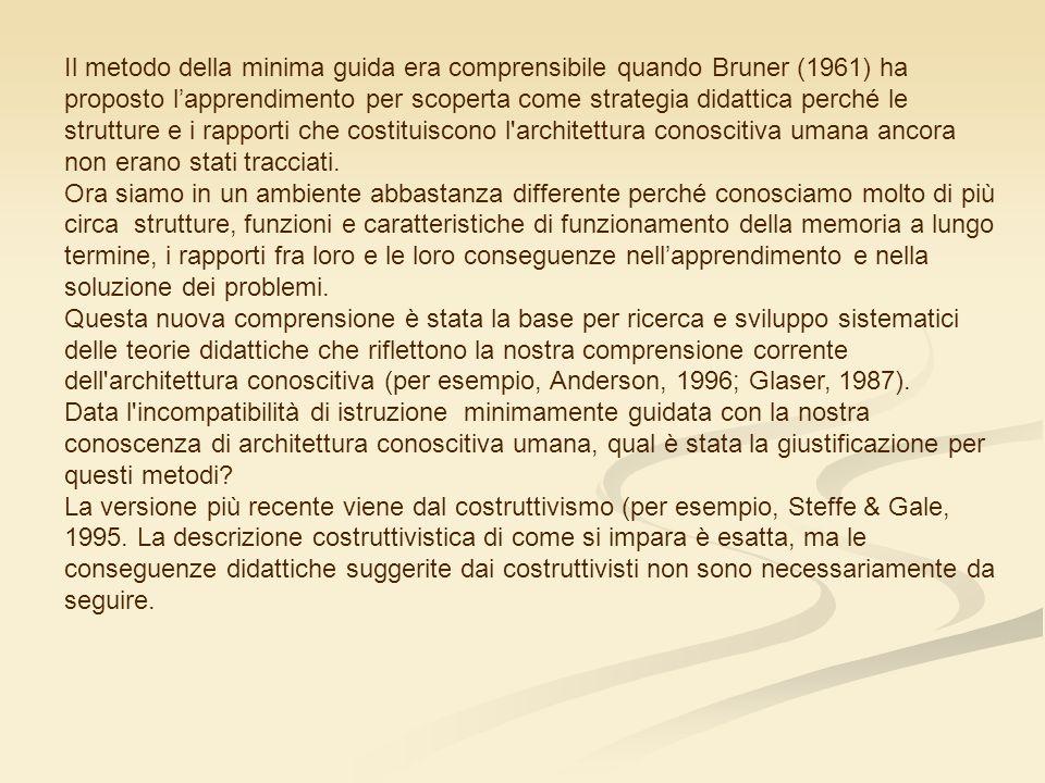 Il metodo della minima guida era comprensibile quando Bruner (1961) ha proposto lapprendimento per scoperta come strategia didattica perché le strutture e i rapporti che costituiscono l architettura conoscitiva umana ancora non erano stati tracciati.