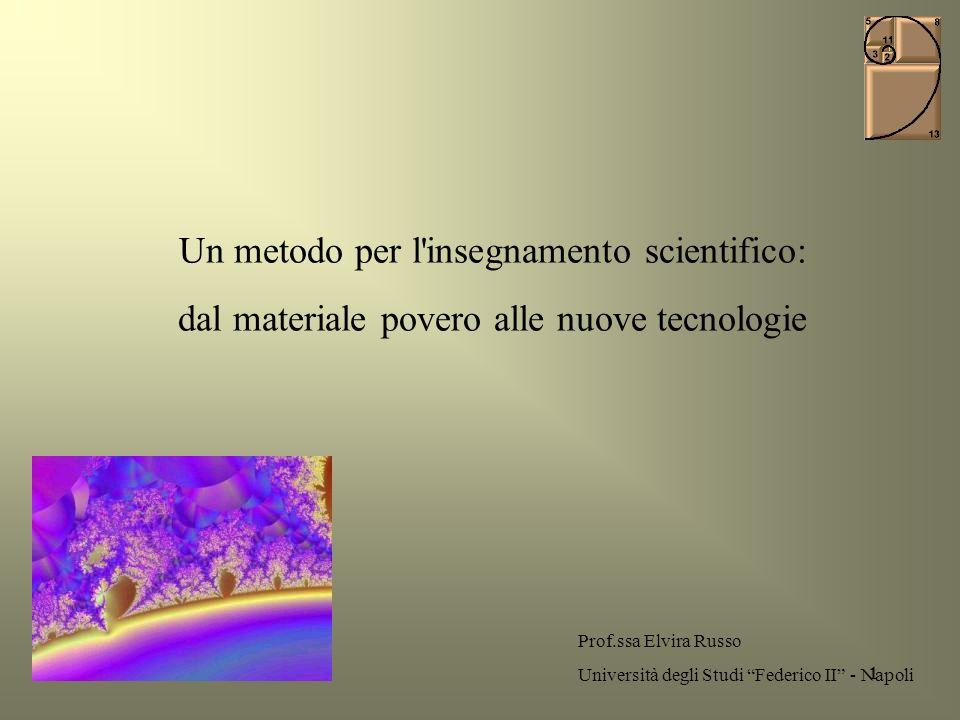 1 Un metodo per l'insegnamento scientifico: dal materiale povero alle nuove tecnologie Prof.ssa Elvira Russo Università degli Studi Federico II - Napo