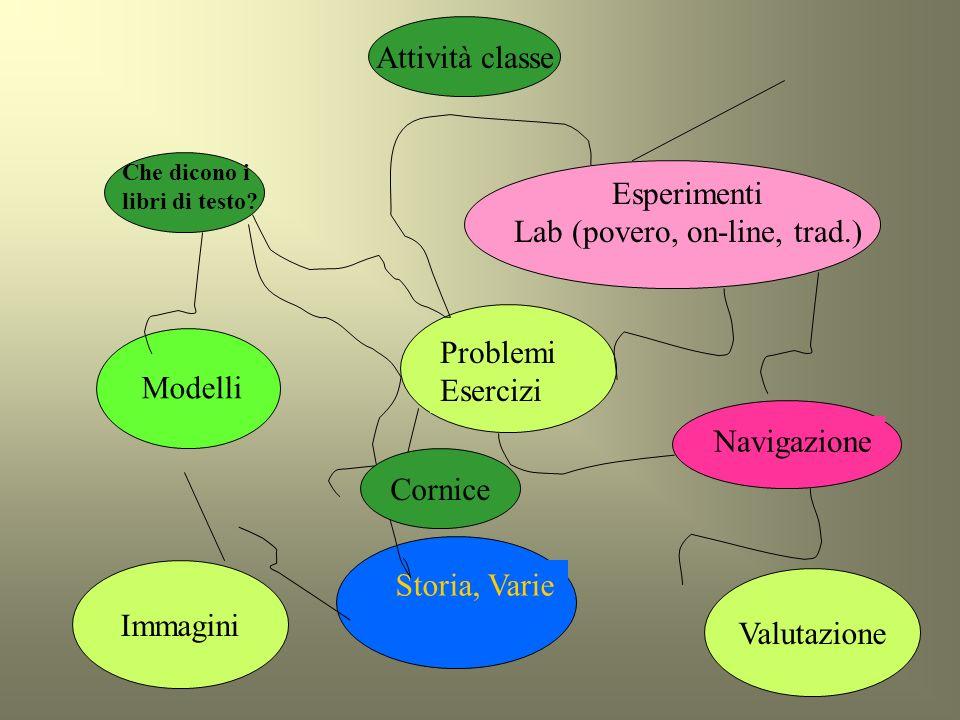 12 Che dicono i libri di testo? Modelli Esperimenti Lab (povero, on-line, trad.) Problemi Esercizi Navigazione Storia, Varie Immagini Valutazione Corn