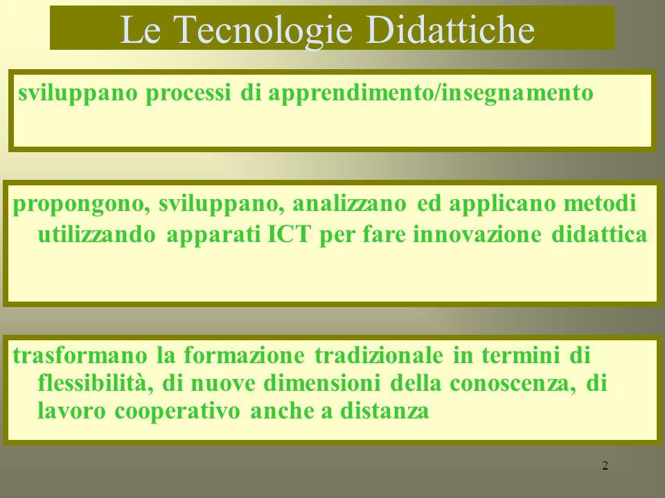 3 Tecnologie Didattiche non Tecnologie per la didattica non sono lapplicazione di strumenti informatici in qualche situazione didattica non sono luso del calcolatore con visione tecnocentrica La tecnologia non risolve da sola problemi consolidati di apprendimento
