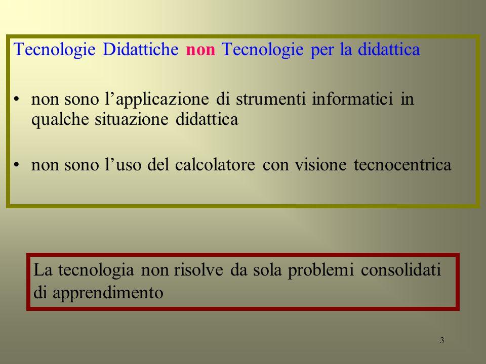 3 Tecnologie Didattiche non Tecnologie per la didattica non sono lapplicazione di strumenti informatici in qualche situazione didattica non sono luso