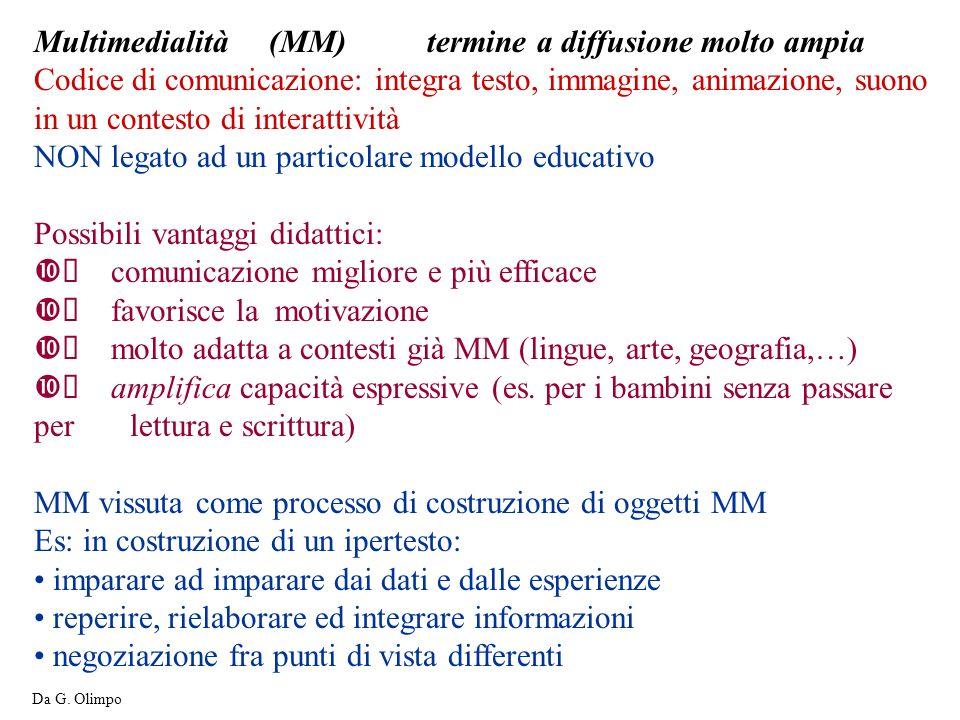 Multimedialità (MM) termine a diffusione molto ampia Codice di comunicazione: integra testo, immagine, animazione, suono in un contesto di interattivi