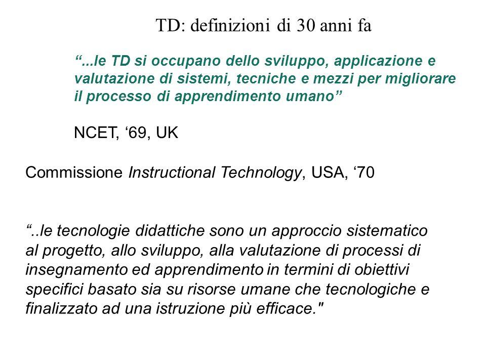 TD: definizioni di 30 anni fa...le TD si occupano dello sviluppo, applicazione e valutazione di sistemi, tecniche e mezzi per migliorare il processo d