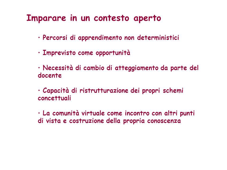Imparare in un contesto aperto Percorsi di apprendimento non deterministici Imprevisto come opportunità Necessità di cambio di atteggiamento da parte