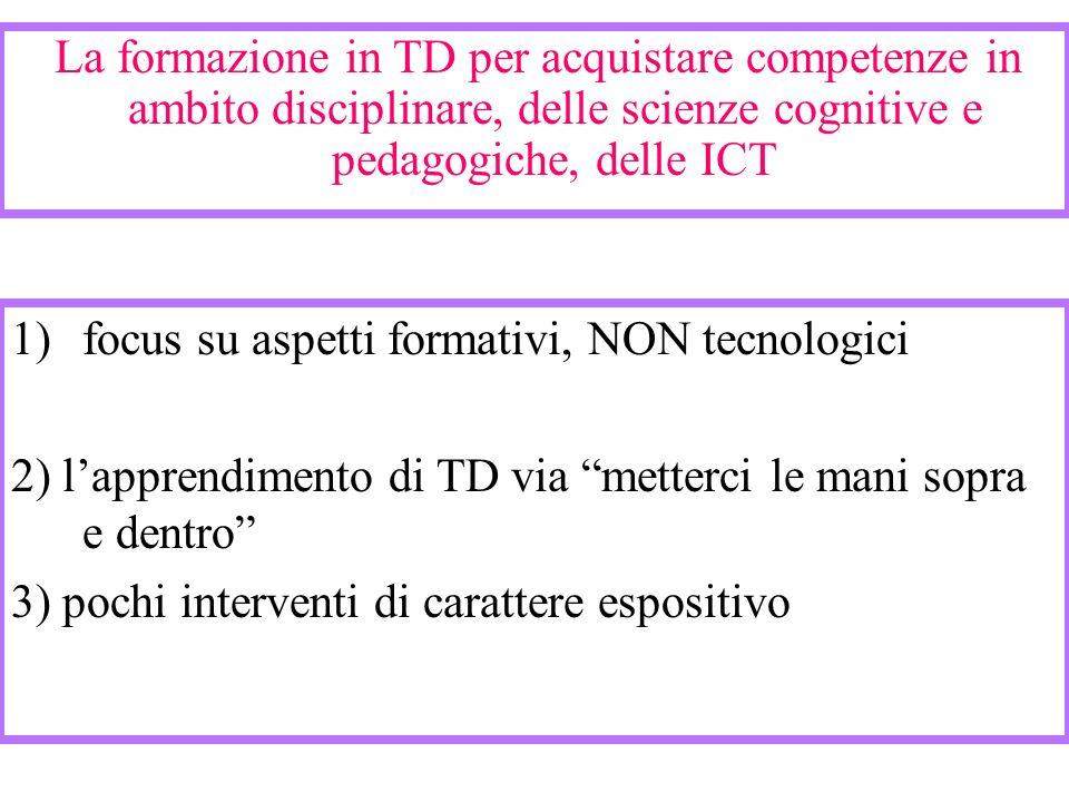 La formazione in TD per acquistare competenze in ambito disciplinare, delle scienze cognitive e pedagogiche, delle ICT 1)focus su aspetti formativi, N