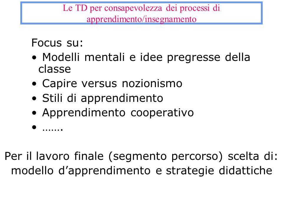 Le TD per consapevolezza dei processi di apprendimento/insegnamento Focus su: Modelli mentali e idee pregresse della classe Capire versus nozionismo S
