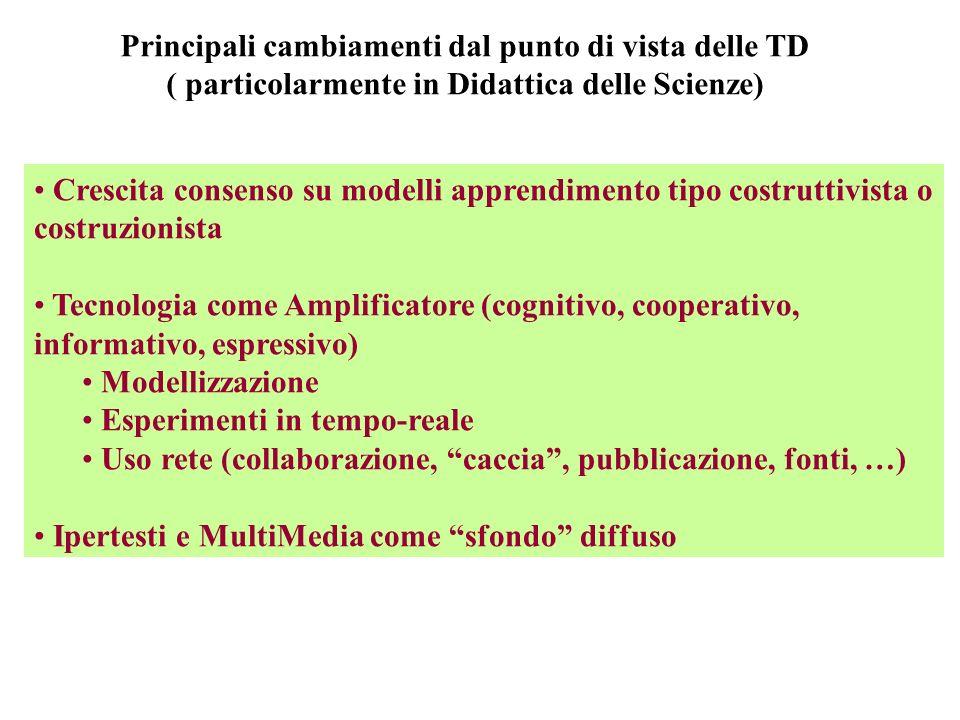 Principali cambiamenti dal punto di vista delle TD ( particolarmente in Didattica delle Scienze) Crescita consenso su modelli apprendimento tipo costr