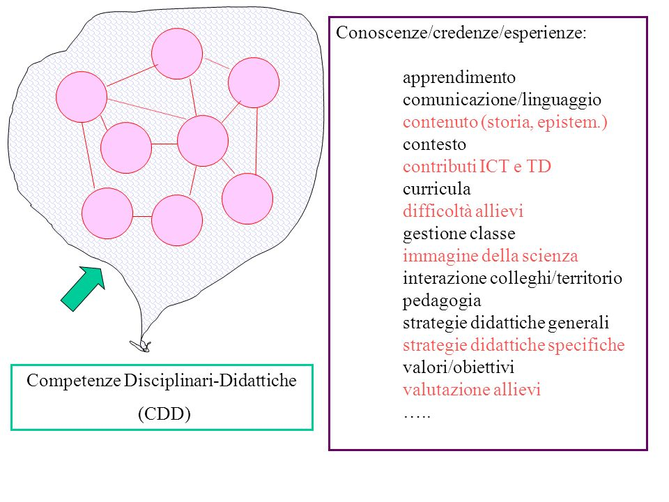Competenze Disciplinari-Didattiche (CDD) Conoscenze/credenze/esperienze: apprendimento comunicazione/linguaggio contenuto (storia, epistem.) contesto