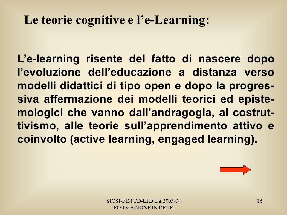 SICSI-FIM TD-LTD a.a.2003/04 FORMAZIONE IN RETE 16 Le teorie cognitive e le-Learning: Le-learning risente del fatto di nascere dopo levoluzione delleducazione a distanza verso modelli didattici di tipo open e dopo la progres- siva affermazione dei modelli teorici ed episte- mologici che vanno dallandragogia, al costrut- tivismo, alle teorie sullapprendimento attivo e coinvolto (active learning, engaged learning).