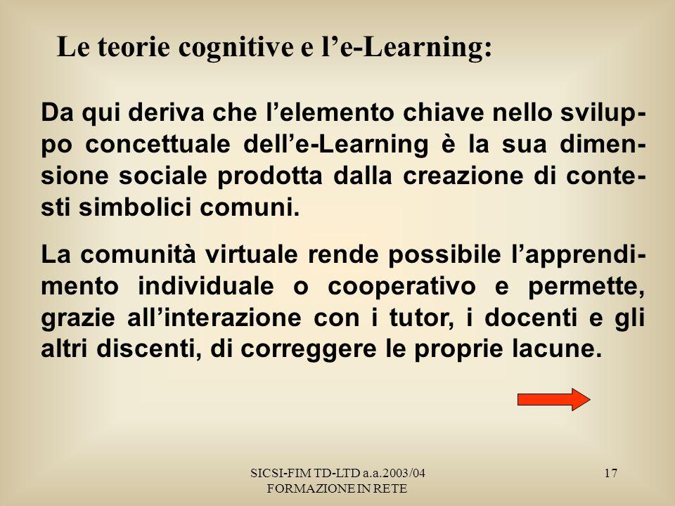SICSI-FIM TD-LTD a.a.2003/04 FORMAZIONE IN RETE 17 Le teorie cognitive e le-Learning: Da qui deriva che lelemento chiave nello svilup- po concettuale delle-Learning è la sua dimen- sione sociale prodotta dalla creazione di conte- sti simbolici comuni.