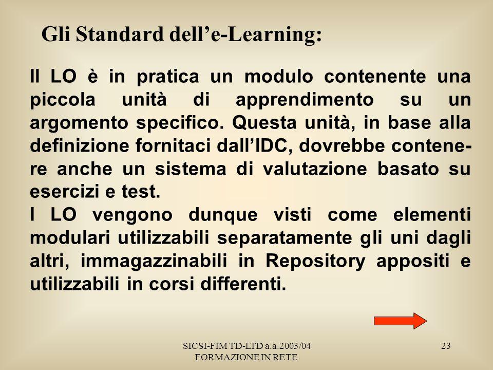 SICSI-FIM TD-LTD a.a.2003/04 FORMAZIONE IN RETE 23 Gli Standard delle-Learning: Il LO è in pratica un modulo contenente una piccola unità di apprendimento su un argomento specifico.