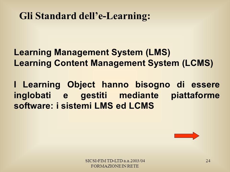 SICSI-FIM TD-LTD a.a.2003/04 FORMAZIONE IN RETE 24 Gli Standard delle-Learning: Learning Management System (LMS) Learning Content Management System (LCMS) I Learning Object hanno bisogno di essere inglobati e gestiti mediante piattaforme software: i sistemi LMS ed LCMS