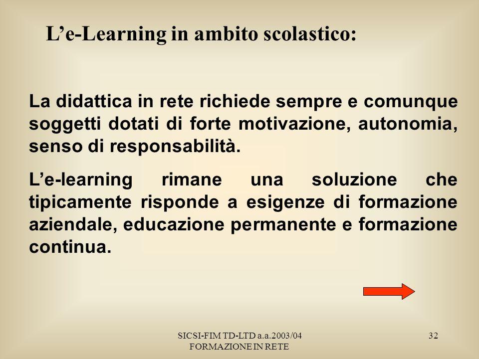 SICSI-FIM TD-LTD a.a.2003/04 FORMAZIONE IN RETE 32 Le-Learning in ambito scolastico: La didattica in rete richiede sempre e comunque soggetti dotati di forte motivazione, autonomia, senso di responsabilità.