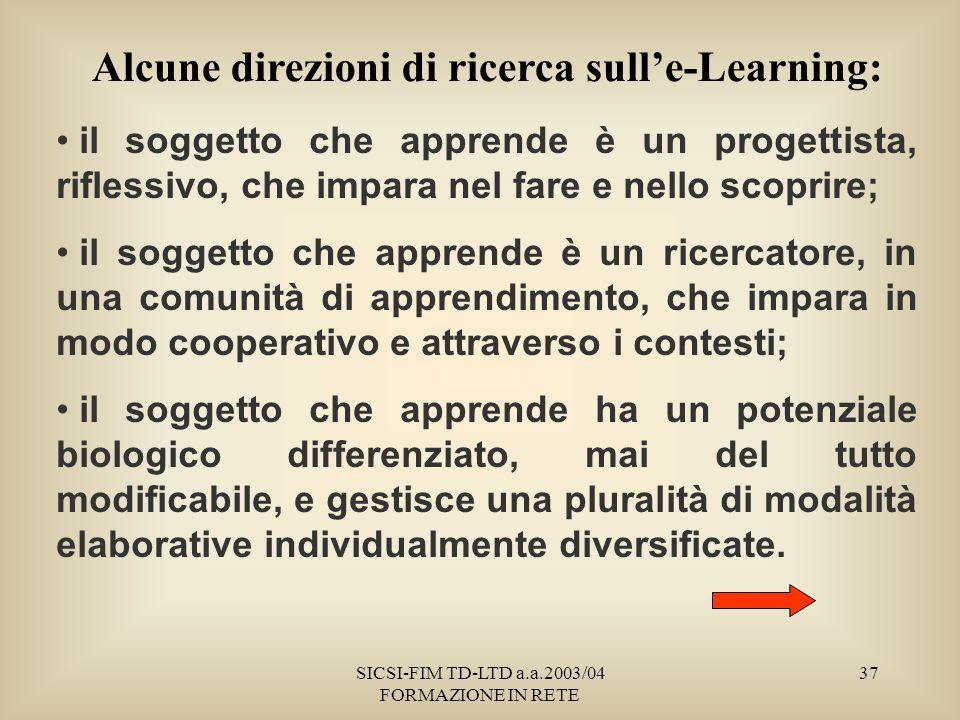 SICSI-FIM TD-LTD a.a.2003/04 FORMAZIONE IN RETE 37 Alcune direzioni di ricerca sulle-Learning: il soggetto che apprende è un progettista, riflessivo, che impara nel fare e nello scoprire; il soggetto che apprende è un ricercatore, in una comunità di apprendimento, che impara in modo cooperativo e attraverso i contesti; il soggetto che apprende ha un potenziale biologico differenziato, mai del tutto modificabile, e gestisce una pluralità di modalità elaborative individualmente diversificate.