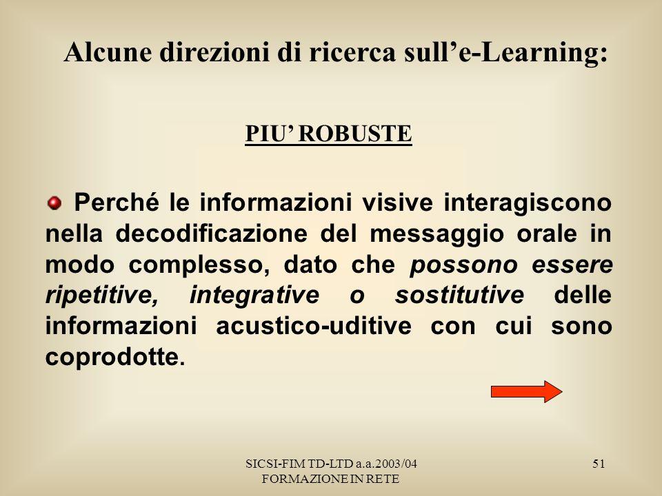 SICSI-FIM TD-LTD a.a.2003/04 FORMAZIONE IN RETE 51 PIU ROBUSTE Perché le informazioni visive interagiscono nella decodificazione del messaggio orale in modo complesso, dato che possono essere ripetitive, integrative o sostitutive delle informazioni acustico-uditive con cui sono coprodotte.
