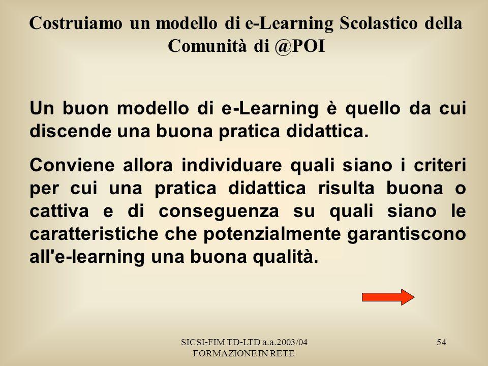 SICSI-FIM TD-LTD a.a.2003/04 FORMAZIONE IN RETE 54 Costruiamo un modello di e-Learning Scolastico della Comunità di @POI Un buon modello di e-Learning è quello da cui discende una buona pratica didattica.