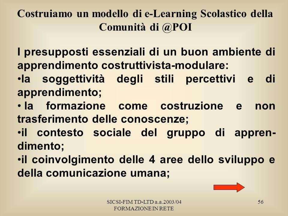 SICSI-FIM TD-LTD a.a.2003/04 FORMAZIONE IN RETE 56 Costruiamo un modello di e-Learning Scolastico della Comunità di @POI I presupposti essenziali di un buon ambiente di apprendimento costruttivista-modulare: la soggettività degli stili percettivi e di apprendimento; la formazione come costruzione e non trasferimento delle conoscenze; il contesto sociale del gruppo di appren- dimento; il coinvolgimento delle 4 aree dello sviluppo e della comunicazione umana;