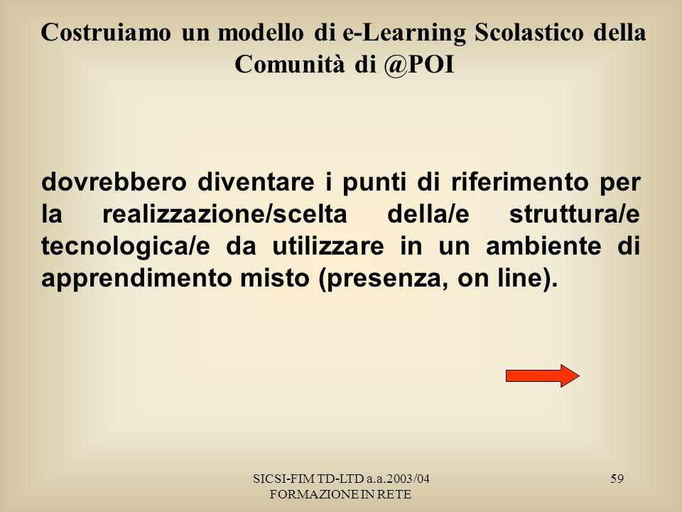 SICSI-FIM TD-LTD a.a.2003/04 FORMAZIONE IN RETE 59 Costruiamo un modello di e-Learning Scolastico della Comunità di @POI dovrebbero diventare i punti di riferimento per la realizzazione/scelta della/e struttura/e tecnologica/e da utilizzare in un ambiente di apprendimento misto (presenza, on line).