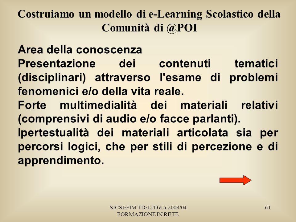 SICSI-FIM TD-LTD a.a.2003/04 FORMAZIONE IN RETE 61 Costruiamo un modello di e-Learning Scolastico della Comunità di @POI Area della conoscenza Presentazione dei contenuti tematici (disciplinari) attraverso l esame di problemi fenomenici e/o della vita reale.
