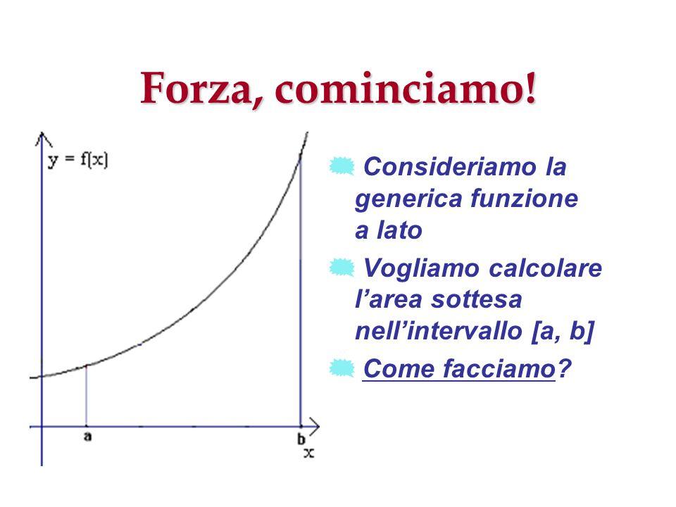 Forza, cominciamo! Consideriamo la generica funzione a lato Vogliamo calcolare larea sottesa nellintervallo [a, b] Come facciamo?