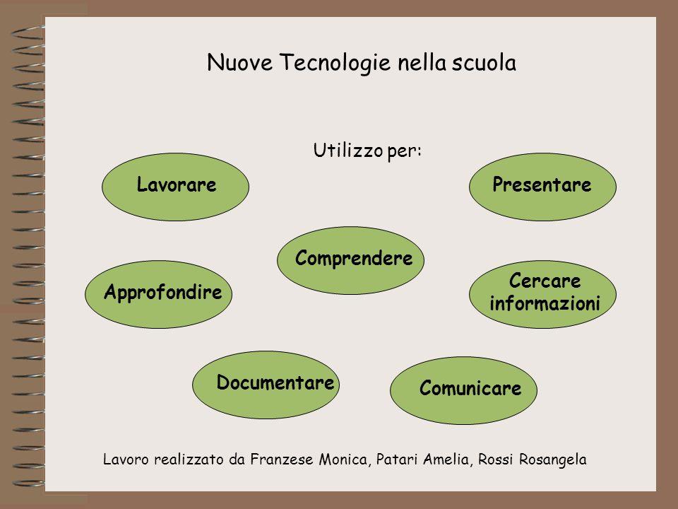 Lavoro realizzato da Franzese Monica, Patari Amelia, Rossi Rosangela Nuove Tecnologie nella scuola Utilizzo per: Lavorare Comprendere Presentare Appro
