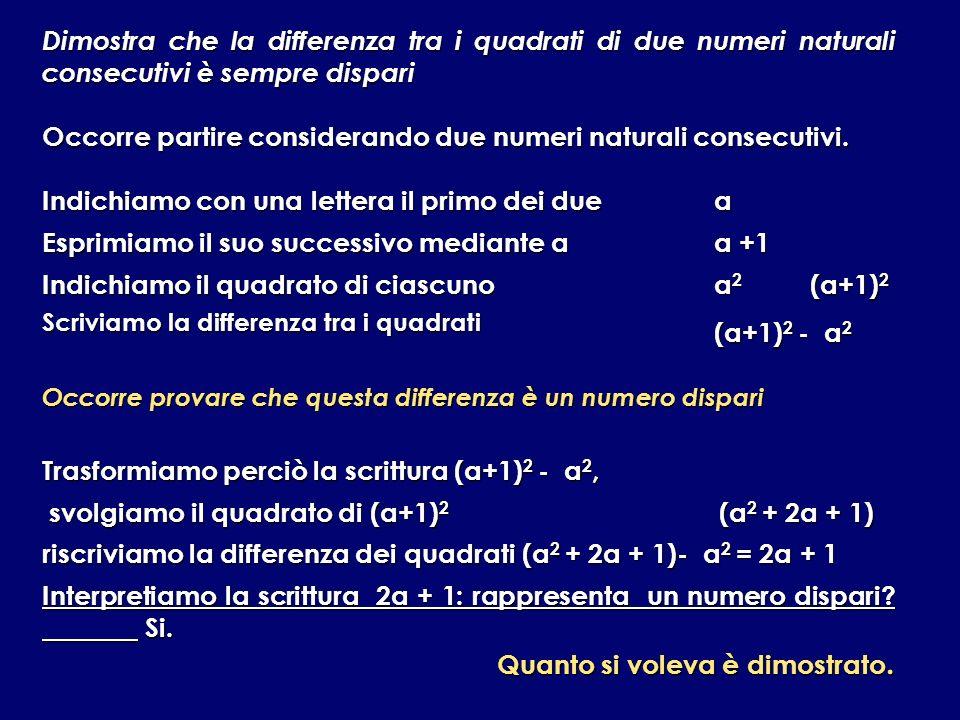 Dimostra che la differenza tra i quadrati di due numeri naturali consecutivi è sempre dispari Occorre partire considerando due numeri naturali consecu