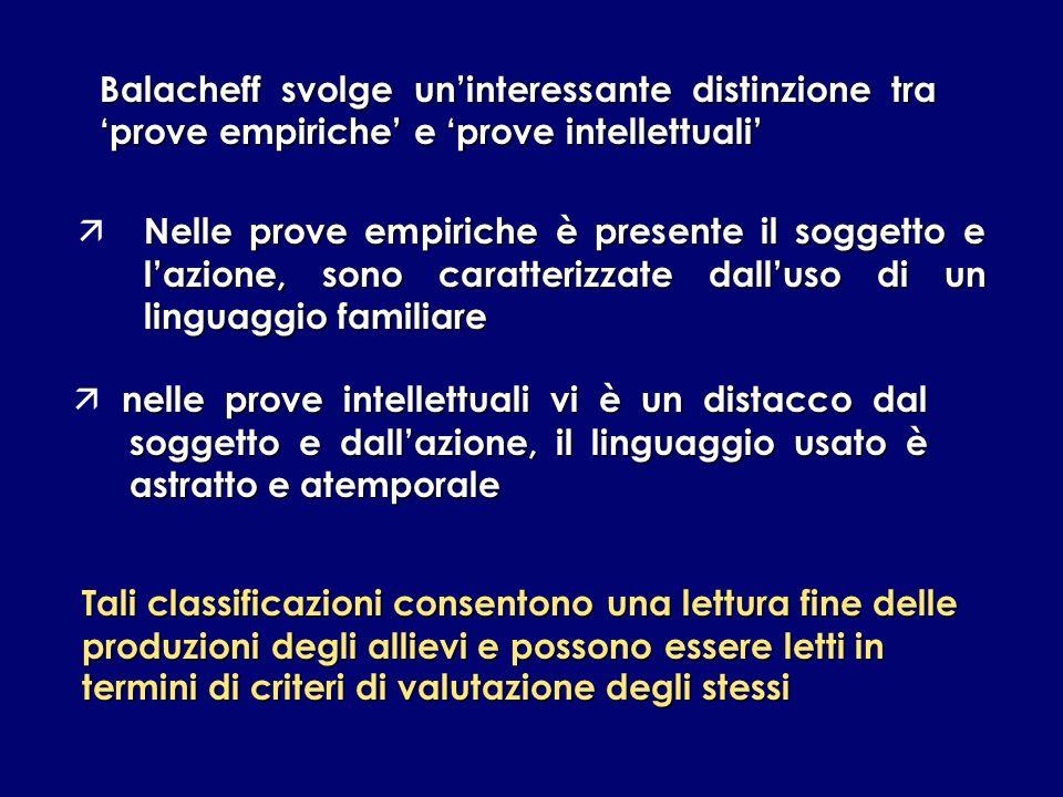 Balacheff svolge uninteressante distinzione tra prove empiriche e prove intellettuali Tali classificazioni consentono una lettura fine delle produzion