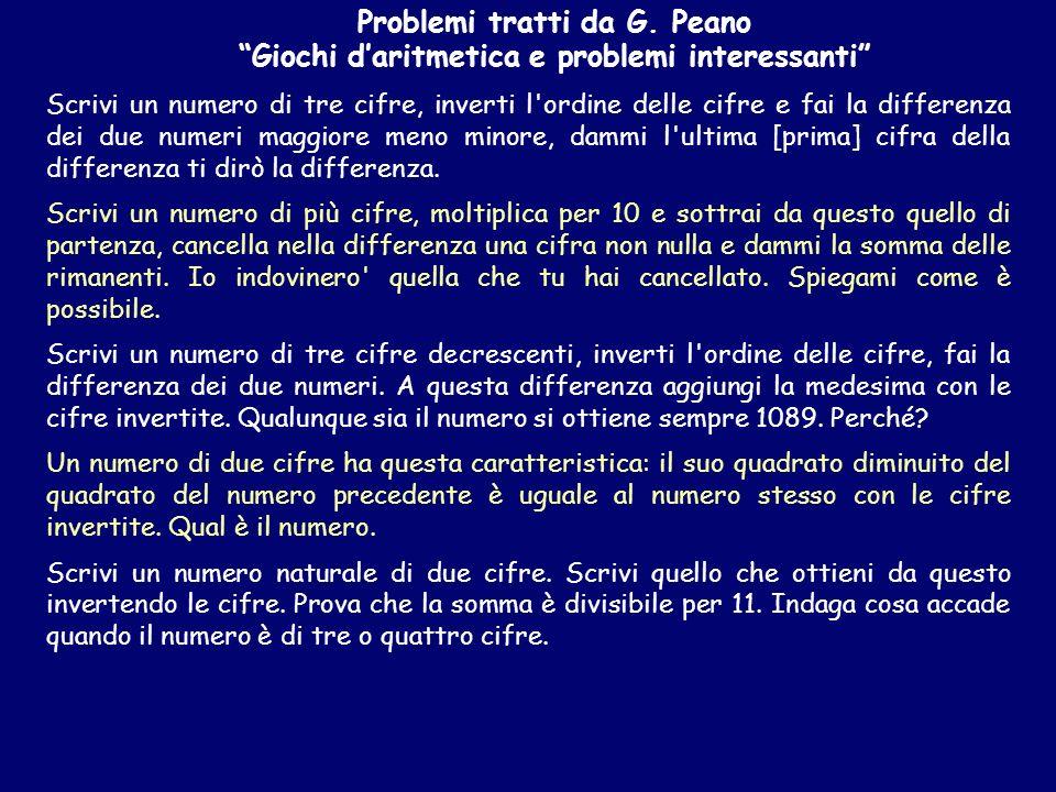 Problemi tratti da G. Peano Giochi daritmetica e problemi interessanti Scrivi un numero di tre cifre, inverti l'ordine delle cifre e fai la differenza