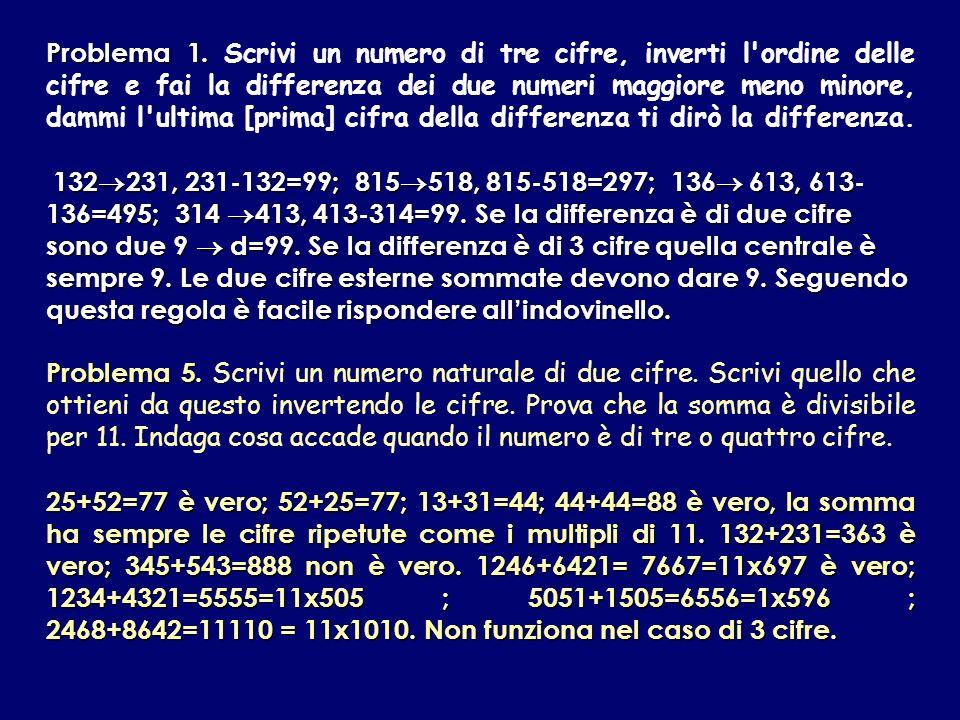 Problema 1. Problema 1. Scrivi un numero di tre cifre, inverti l'ordine delle cifre e fai la differenza dei due numeri maggiore meno minore, dammi l'u