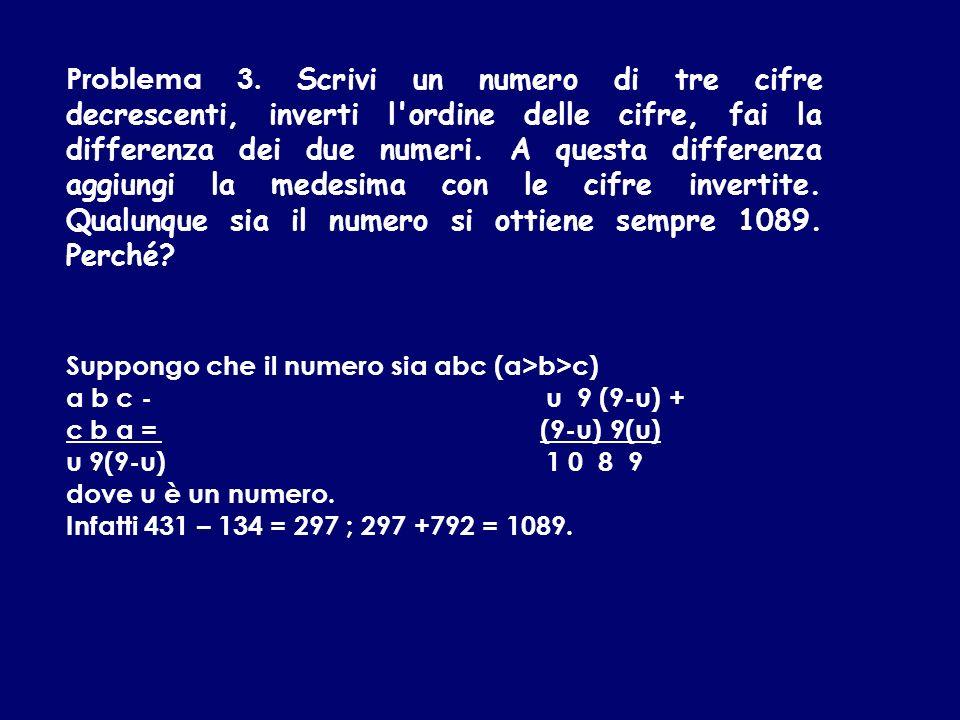Problema 3. Scrivi un numero di tre cifre decrescenti, inverti l'ordine delle cifre, fai la differenza dei due numeri. A questa differenza aggiungi la