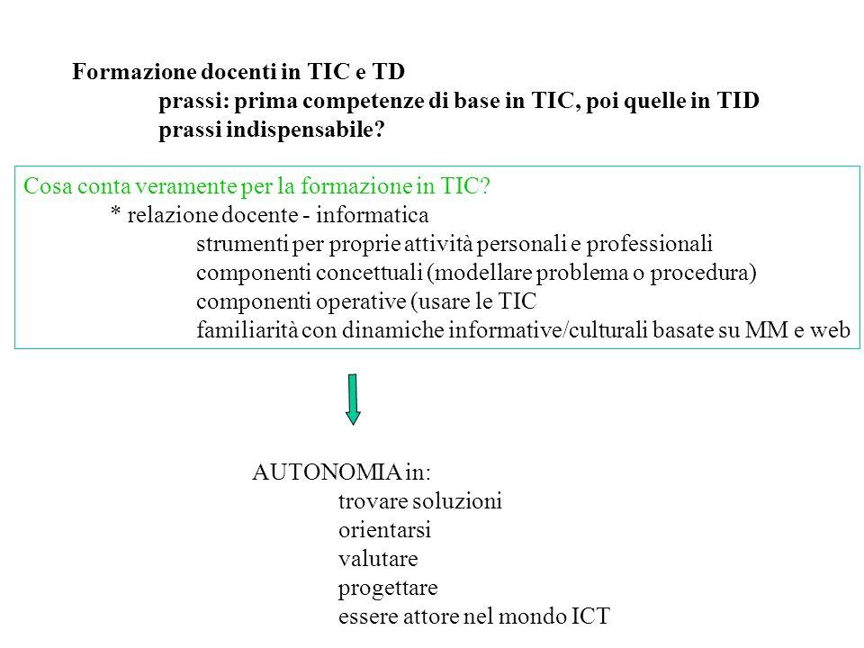 Formazione docenti in TIC e TD prassi: prima competenze di base in TIC, poi quelle in TID prassi indispensabile.