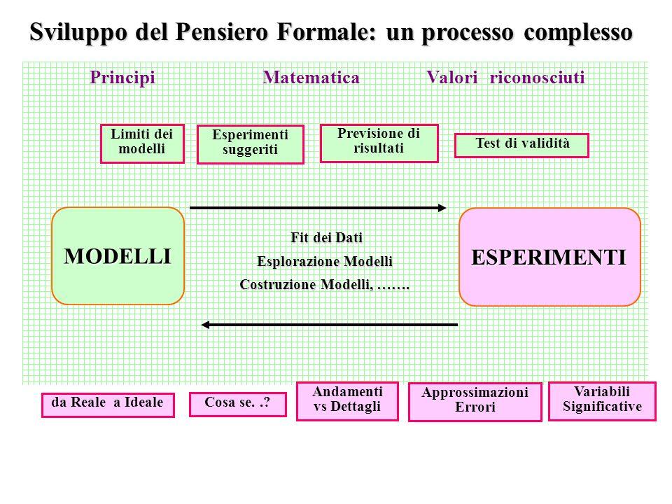 Sviluppo del Pensiero Formale: un processo complesso Principi Matematica Valori riconosciuti MODELLI ESPERIMENTI Fit dei Dati Fit dei Dati Esplorazione Modelli Costruzione Modelli, …….