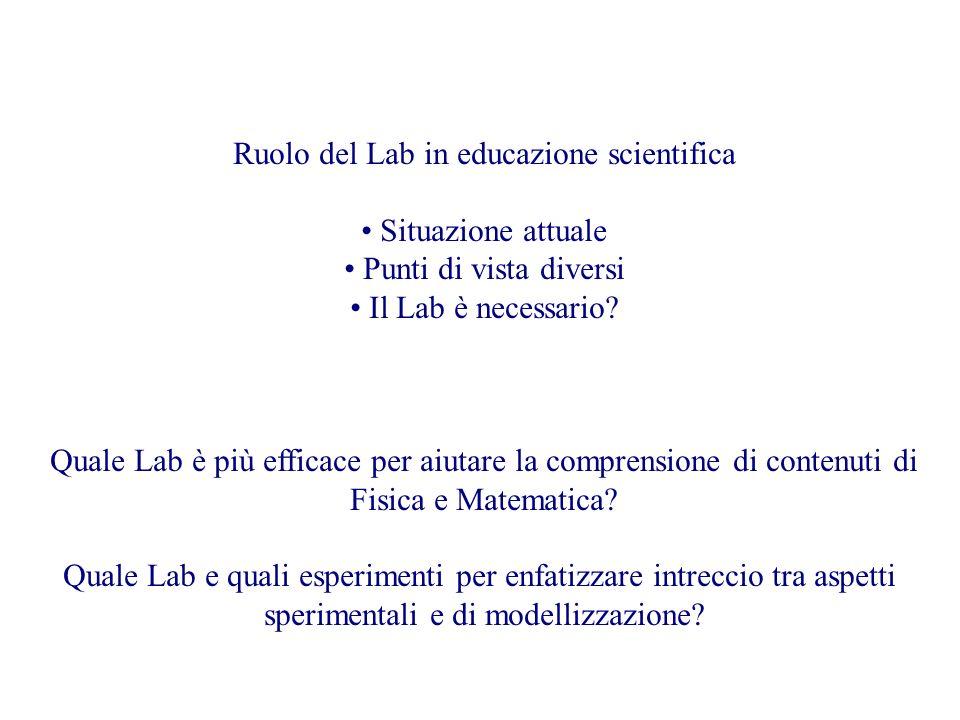 Ruolo del Lab in educazione scientifica Situazione attuale Punti di vista diversi Il Lab è necessario.