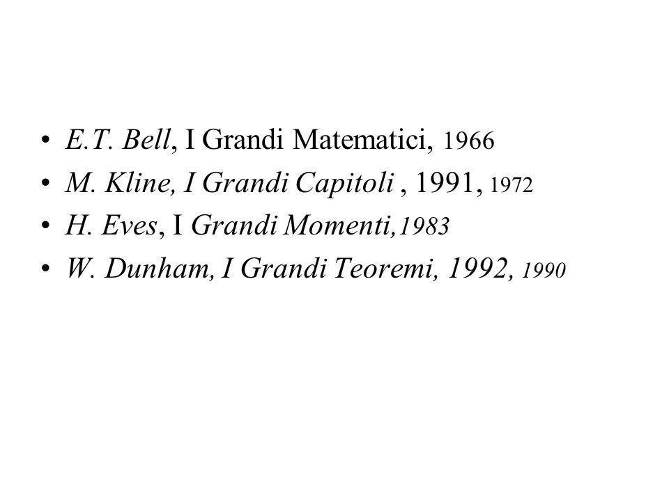 E.T. Bell, I Grandi Matematici, 1966 M. Kline, I Grandi Capitoli, 1991, 1972 H.