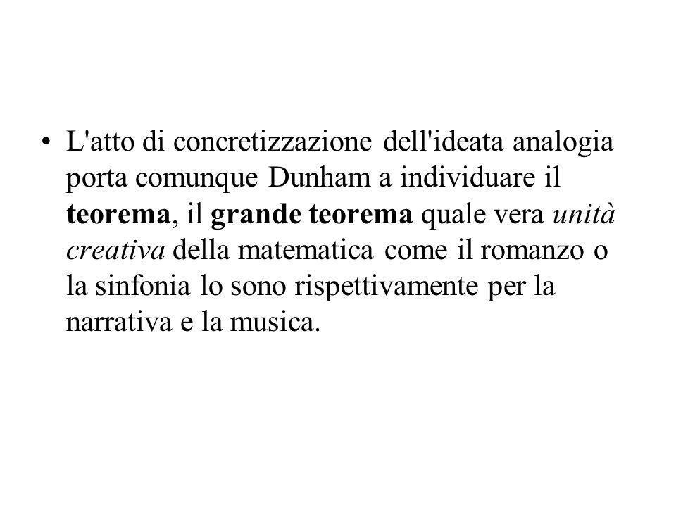 L atto di concretizzazione dell ideata analogia porta comunque Dunham a individuare il teorema, il grande teorema quale vera unità creativa della matematica come il romanzo o la sinfonia lo sono rispettivamente per la narrativa e la musica.