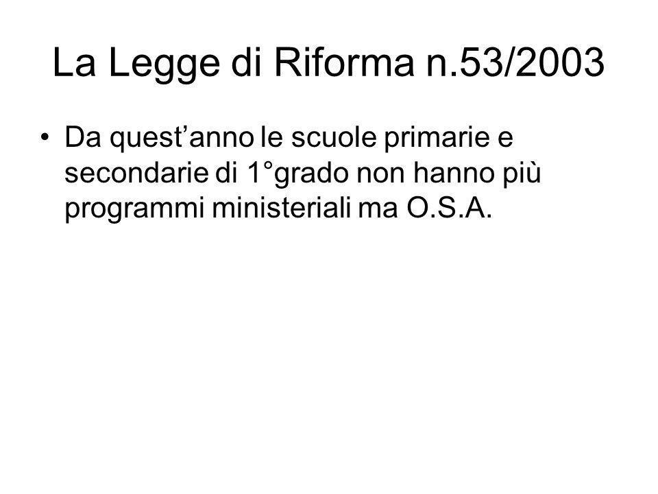 La Legge di Riforma n.53/2003 Da questanno le scuole primarie e secondarie di 1°grado non hanno più programmi ministeriali ma O.S.A.