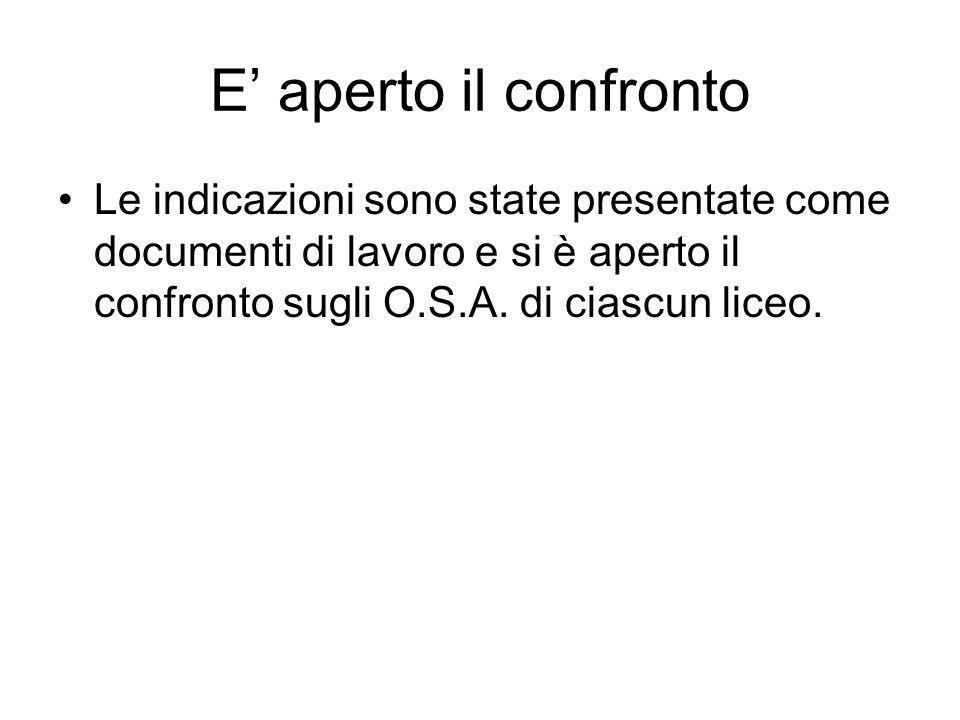 E aperto il confronto Le indicazioni sono state presentate come documenti di lavoro e si è aperto il confronto sugli O.S.A.