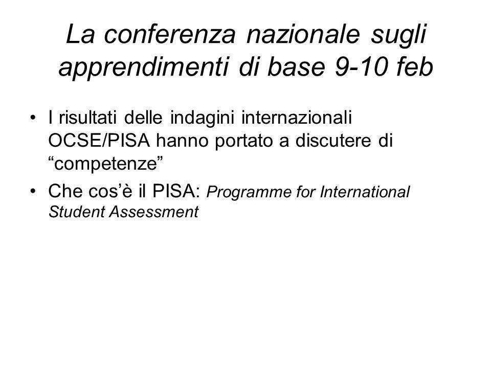 La conferenza nazionale sugli apprendimenti di base 9-10 feb I risultati delle indagini internazionali OCSE/PISA hanno portato a discutere di competenze Che cosè il PISA: Programme for International Student Assessment