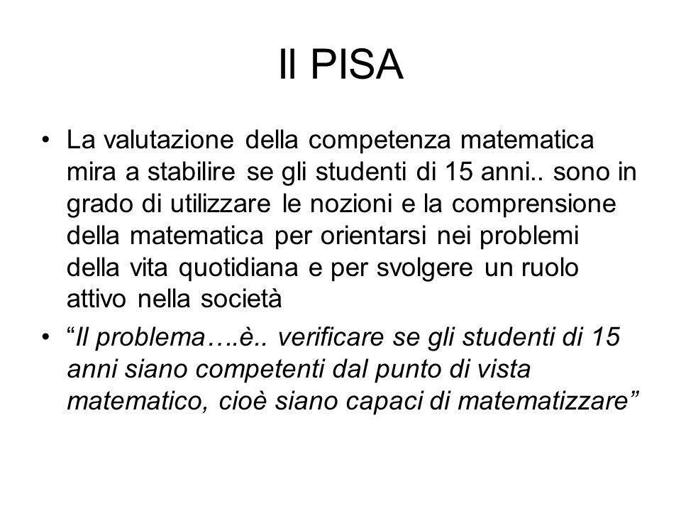 Il PISA La valutazione della competenza matematica mira a stabilire se gli studenti di 15 anni..
