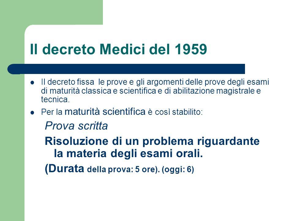Il decreto Medici del 1959 Il decreto fissa le prove e gli argomenti delle prove degli esami di maturità classica e scientifica e di abilitazione magistrale e tecnica.