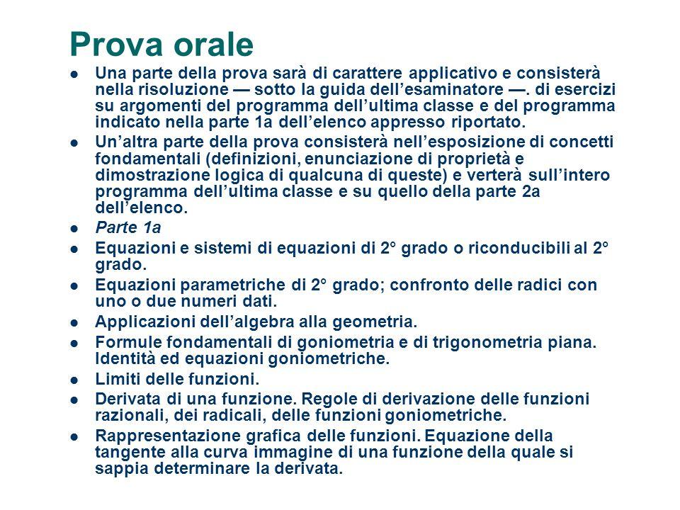 Prova orale Una parte della prova sarà di carattere applicativo e consisterà nella risoluzione sotto la guida dellesaminatore. di esercizi su argoment