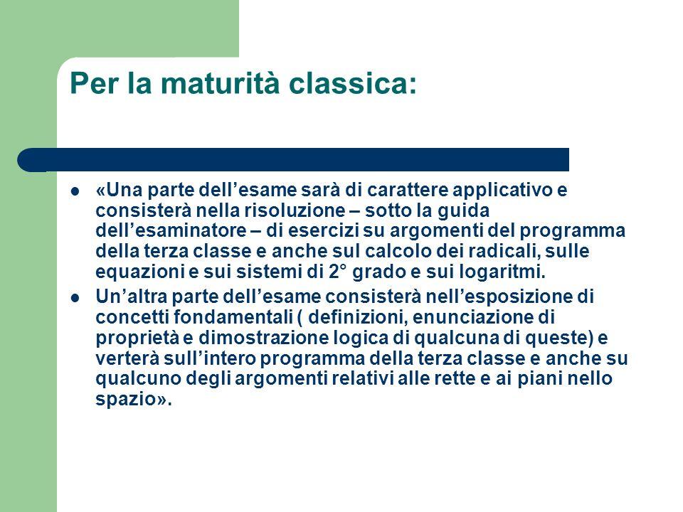 Per la maturità classica: «Una parte dellesame sarà di carattere applicativo e consisterà nella risoluzione – sotto la guida dellesaminatore – di eser